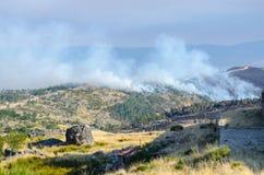 Fire in progress at Serra da Estrela, Portugal royalty free stock photography