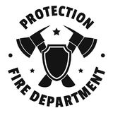 Fire protection department logo, simple style stock illustration
