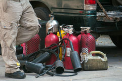 Fire protection equipment. Fire extinguishers (Chemical Powder,Dry)-Being used-Fire protection equipment Stock Photos