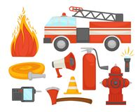 Fire protection secure team poster of firefighter rescue extinguishing equipment vector flat icons. Fire protection and extinguishing equipment tools icons Royalty Free Stock Photo