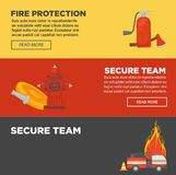 Fire protection and firefighter secure team web banners flat design template. Fire protection and firefighter team of fire secure protection web banners flat Royalty Free Stock Photography