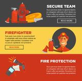 Fire protection and firefighter security team web banners flat design template. Fire protection and firefighter team of fire security web banners flat design Royalty Free Stock Photos