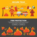 Fire protection and firefighter team of fire security instruction web banners flat design template. Fire protection and firefighter team or fire extinguishing Stock Images