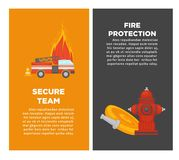 Fire protection or firefighting secure team vector poster of firefighter extinguishing equipment. Fire protection or firefighting secure team posters of fire Royalty Free Stock Image