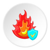 Fire protection icon, cartoon style. Fire protection icon in cartoon style isolated on white circle background. Safety symbol vector illustration Stock Image