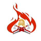 Fire protection. Icon with a set of objects and tools on a background of flames. Illustration on white background Royalty Free Stock Photo