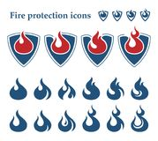 Fire protection icons. Fire on shield with set of 12 different fire icon Royalty Free Stock Photography