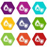Fire protection icons set 9 vector. Fire protection icons 9 set coloful isolated on white for web Royalty Free Stock Photography