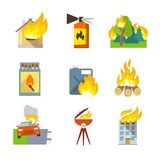 Fire Protection Icons. Set of house forest car accidents isolated vector illustration Stock Photos