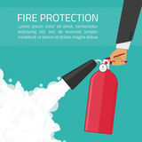 Fire protection illustration. Fire extinguisher in hands. Fire protection illustration. Fire-prevention announcement concept in flat style Stock Photos