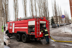 Fire protection machine. Russia, Ufa - March 13 2016. Stock Images