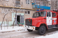 Fire protection machine stands at the entrance of a block of flats Stock Image