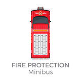 Fire Protection Minibus Means of Transportation. Fire protection minibus car service means of transportation  on white background. Vector city transport icon Royalty Free Stock Photo