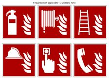 Fire protection sign vector collection DIN 7010 and ASR 1.3 isolated on white background royalty free illustration
