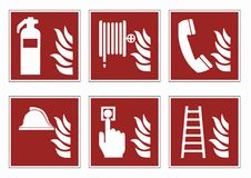 Fire protection signs - emergency pictogram icon set, vector. Fire protection signs - emergency pictogram icon set fire protection signs - emergency pictogram Stock Photography