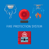 Fire protection system. Fire protection and alarm system vector illustration on blue background Royalty Free Stock Photos