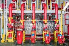 Fire protection system, Deluge valve and fire water header to distribute high pressure water to risk area for firefighting stock photos