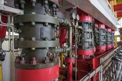 Fire protection system on offshore oil and gas processing platform. Deludge system of fire fighting system foe emergency of fire case in oil and gas field Royalty Free Stock Photography