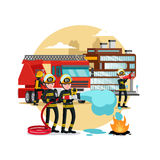 Fire Protection Template. With rescue truck and firefighters in uniform and helmet with different equipment vector illustration Royalty Free Stock Image
