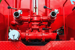 Fire pump machine of fire engine Stock Photography