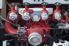 Fire pump panel on fire truck Royalty Free Stock Photography