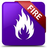 Fire purple square button red ribbon in corner. Fire  on purple square button with red ribbon in corner abstract illustration Royalty Free Stock Images