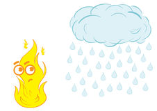 Fire and rain. The scared fire a flame and a cloud with the rain Royalty Free Stock Photo