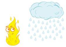 Fire and rain Royalty Free Stock Photo