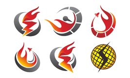 Fire Rapid Template Set. Vector Royalty Free Stock Photo