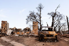 Fire ravaged property Royalty Free Stock Images