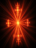Fire ray cross of easter. On dark background Royalty Free Stock Photography