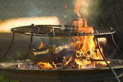 Fire ready for grilling Stock Photography