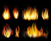 Fire. Realistic elements  set. Stock Photo