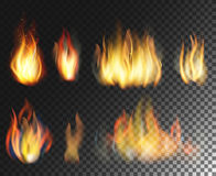 Fire. Realistic elements  set. Fire. Vector  realistic elements set on  transparent background Royalty Free Stock Photo