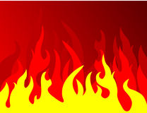 Fire on red background. Vector illustration Stock Images