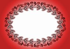 Hot Red Antique Mirror Frame. Fire Red background and antique leafs border frame. Can be a frame for an invitation or greeting card Stock Images