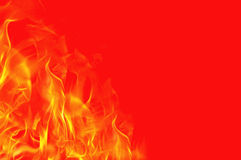 Fire on red background Royalty Free Stock Photography