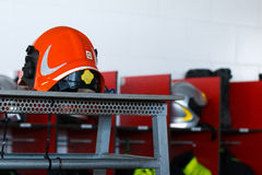 Fire red helmet Stock Photography