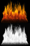 Fire of red and orange color. Fire as deign element with alpha channel and matte for transparency Royalty Free Stock Photo