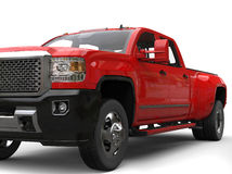 Fire red pickup truck - front view closeup shot Royalty Free Stock Images
