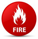 Fire red round button. Fire isolated on red round button abstract illustration Royalty Free Stock Photography