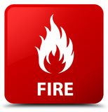 Fire red square button. Fire isolated on red square button abstract illustration Royalty Free Stock Photos