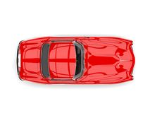 Fire red vintage sports car - top down view. Isolated on white background Royalty Free Stock Image