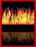 Fire With Reflection. Illustration of a fiery blaze of flames with a reflection and empty banner Royalty Free Stock Photos