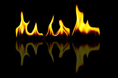 Fire with reflection Royalty Free Stock Image