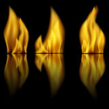 Fire and reflection of fire. On a black background Royalty Free Stock Photos