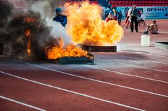 Fire relay race Royalty Free Stock Image