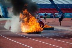 Fire relay race Stock Photos