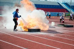 Fire relay race Royalty Free Stock Photos