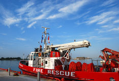 Fire & Rescue. EMS boat moored at harbour Royalty Free Stock Photos